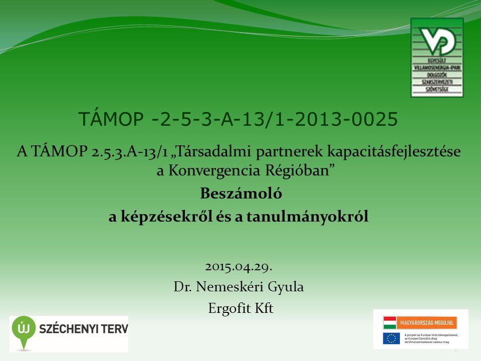 """1 TÁMOP -2-5-3-A-13/1-2013-0025 A TÁMOP 2.5.3.A-13/1 """"Társadalmi partnerek kapacitásfejlesztése a Konvergencia Régióban Beszámoló a képzésekről és a tanulmányokról 2015.04.29."""