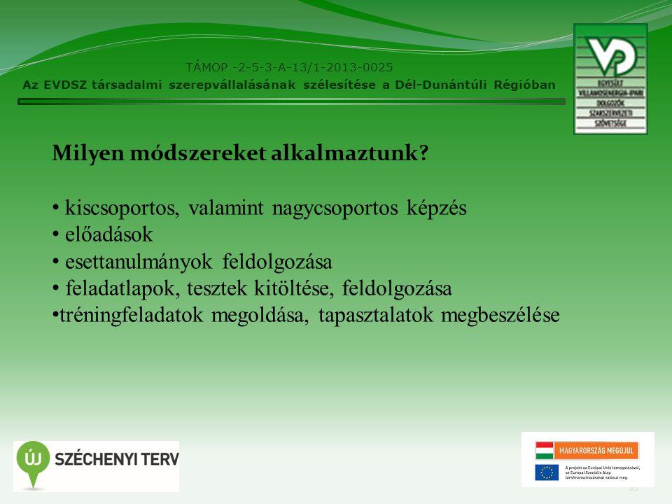 TÁMOP -2-5-3-A-13/1-2013-0025 Az EVDSZ társadalmi szerepvállalásának szélesítése a Dél-Dunántúli Régióban 10 Milyen módszereket alkalmaztunk.