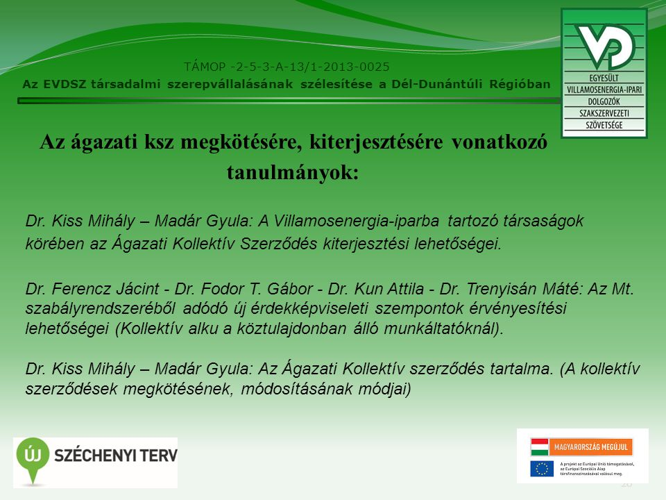 TÁMOP -2-5-3-A-13/1-2013-0025 Az EVDSZ társadalmi szerepvállalásának szélesítése a Dél-Dunántúli Régióban 20 Az ágazati ksz megkötésére, kiterjesztésére vonatkozó tanulmányok: Dr.
