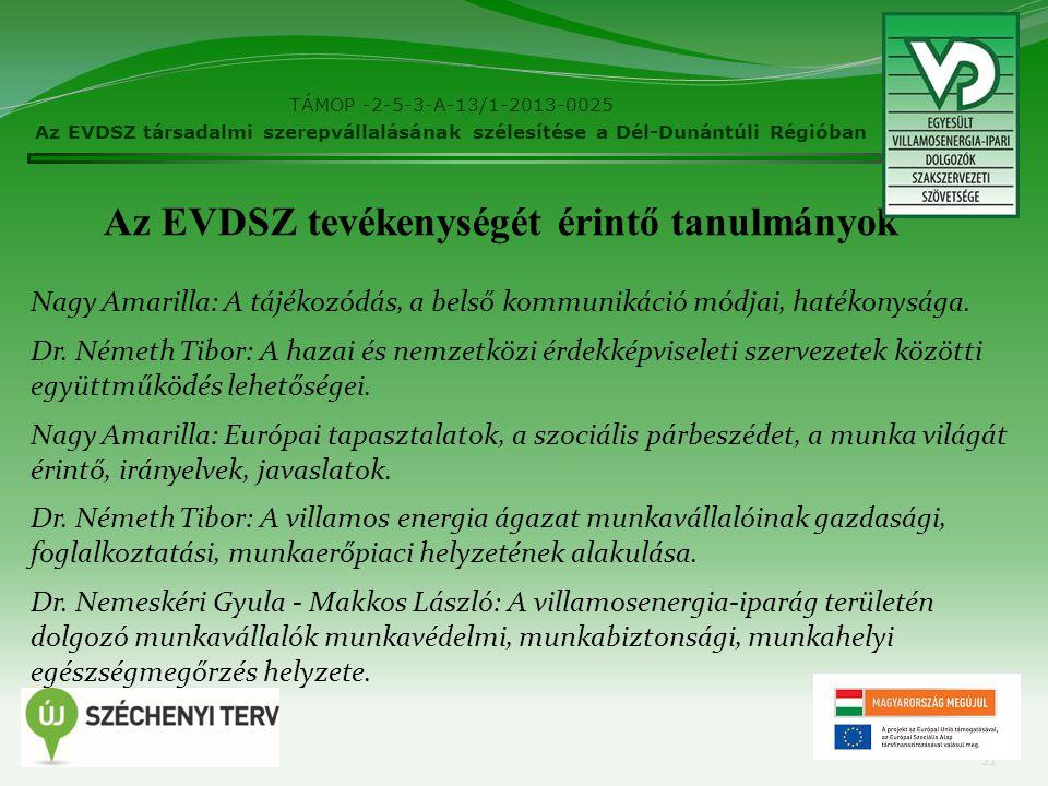 TÁMOP -2-5-3-A-13/1-2013-0025 Az EVDSZ társadalmi szerepvállalásának szélesítése a Dél-Dunántúli Régióban 21 Nagy Amarilla: A tájékozódás, a belső kommunikáció módjai, hatékonysága.