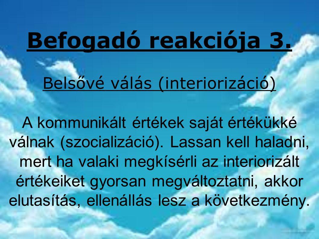 Befogadó reakciója 3. Belsővé válás (interiorizáció) A kommunikált értékek saját értékükké válnak (szocializáció). Lassan kell haladni, mert ha valaki