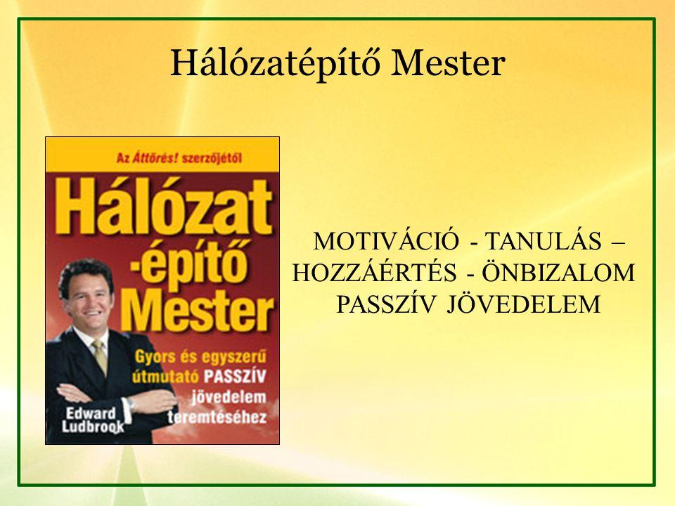 Hálózatépítő Mester MOTIVÁCIÓ - TANULÁS – HOZZÁÉRTÉS - ÖNBIZALOM PASSZÍV JÖVEDELEM