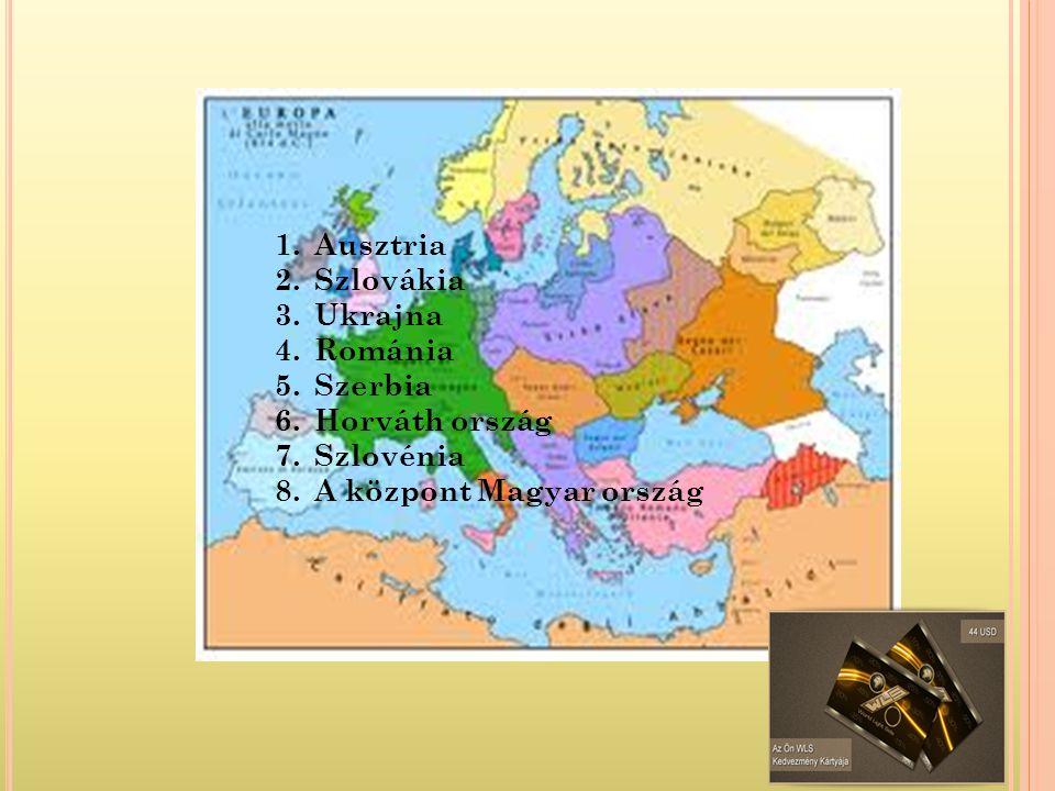 1.Ausztria 2.Szlovákia 3.Ukrajna 4.Románia 5.Szerbia 6.Horváth ország 7.Szlovénia 8.A központ Magyar ország