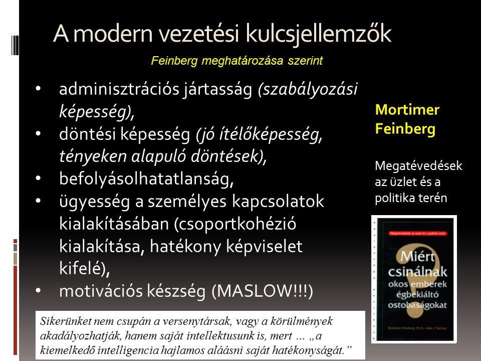 """A modern vezetési kulcsjellemzők adminisztrációs jártasság (szabályozási képesség), döntési képesség (jó ítélőképesség, tényeken alapuló döntések), befolyásolhatatlanság, ügyesség a személyes kapcsolatok kialakításában (csoportkohézió kialakítása, hatékony képviselet kifelé), motivációs készség (MASLOW!!!) Feinberg meghatározása szerint Mortimer Feinberg Megatévedések az üzlet és a politika terén Sikerünket nem csupán a versenytársak, vagy a körülmények akadályozhatják, hanem saját intellektusunk is, mert … """"a kiemelkedő intelligencia hajlamos aláásni saját hatékonyságát."""