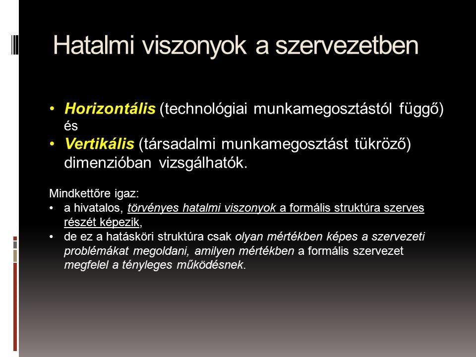 Hatalmi viszonyok a szervezetben Horizontális (technológiai munkamegosztástól függő) és Vertikális (társadalmi munkamegosztást tükröző) dimenzióban vizsgálhatók.
