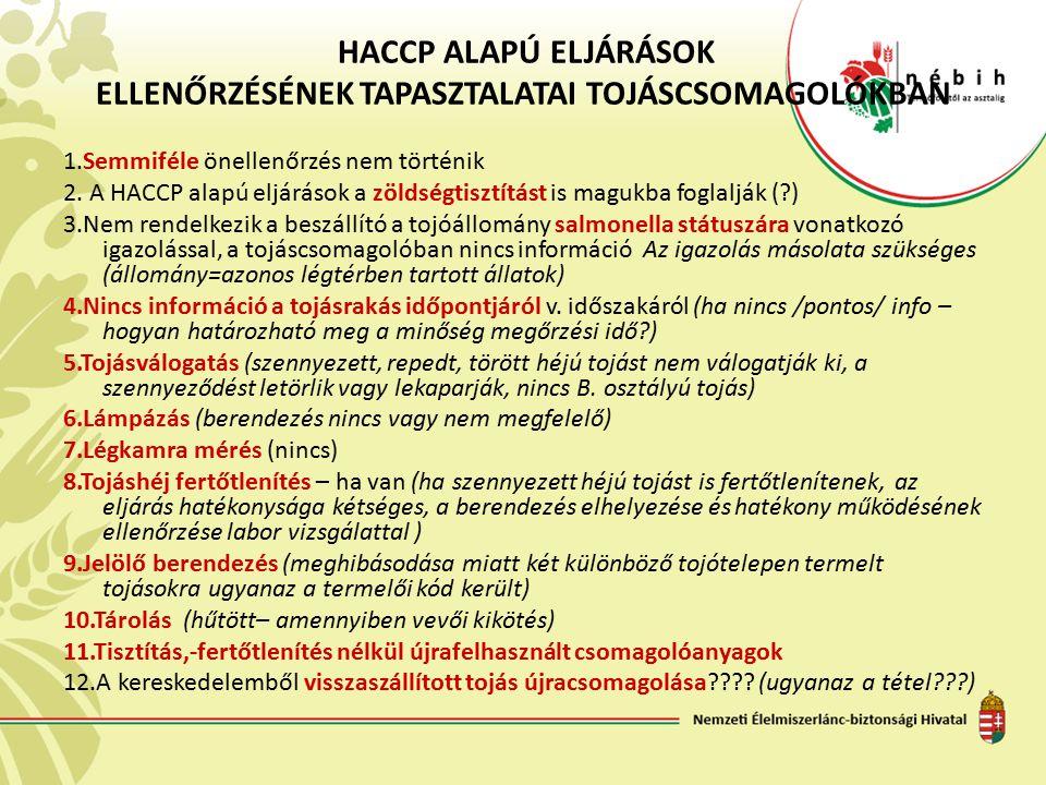 HACCP ALAPÚ ELJÁRÁSOK ELLENŐRZÉSÉNEK TAPASZTALATAI TOJÁSCSOMAGOLÓKBAN 1.Semmiféle önellenőrzés nem történik 2. A HACCP alapú eljárások a zöldségtisztí