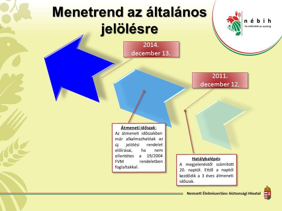Menetrend az általános jelölésre Hatálybalépés: A megjelenéstől számított 20. naptól. Ettől a naptól kezdődik a 3 éves átmeneti időszak. 2014. decembe