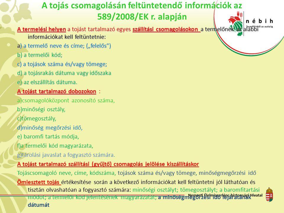 A tojás csomagolásán feltüntetendő információk az 589/2008/EK r. alapján A termelési helyen a tojást tartalmazó egyes szállítási csomagolásokon a term