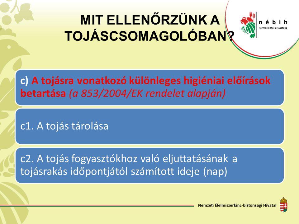 MIT ELLENŐRZÜNK A TOJÁSCSOMAGOLÓBAN? c) A tojásra vonatkozó különleges higiéniai előírások betartása (a 853/2004/EK rendelet alapján) c1. A tojás táro