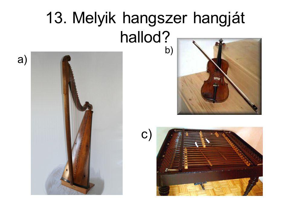 13. Melyik hangszer hangját hallod? a) b) c)