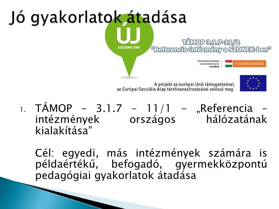 """1. TÁMOP – 3.1.7 – 11/1 - """"Referencia – intézmények országos hálózatának kialakítása"""" Cél: egyedi, más intézmények számára is példaértékű, befogadó, g"""
