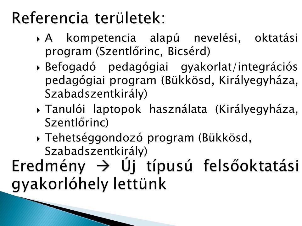  A kompetencia alapú nevelési, oktatási program (Szentlőrinc, Bicsérd)  Befogadó pedagógiai gyakorlat/integrációs pedagógiai program (Bükkösd, Királ