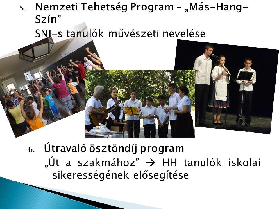 """5. Nemzeti Tehetség Program – """"Más-Hang- Szín"""" SNI-s tanulók művészeti nevelése 6. Útravaló ösztöndíj program """"Út a szakmához""""  HH tanulók iskolai si"""