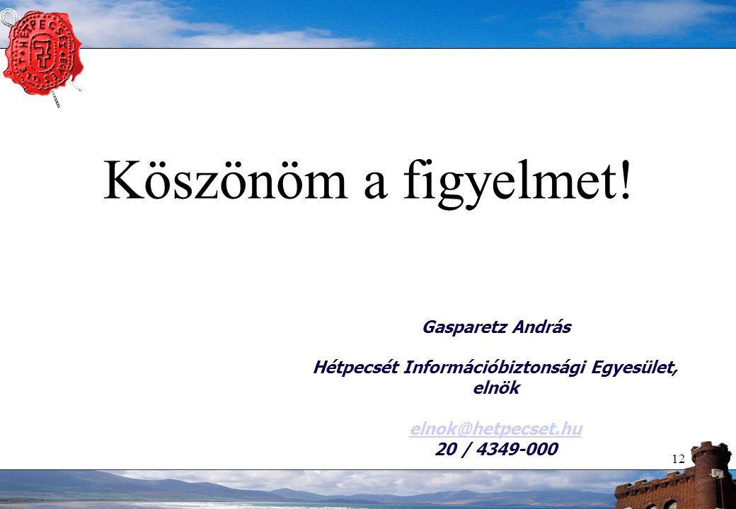 Köszönöm a figyelmet! 12 Gasparetz András Hétpecsét Információbiztonsági Egyesület, elnök elnok@hetpecset.hu 20 / 4349-000