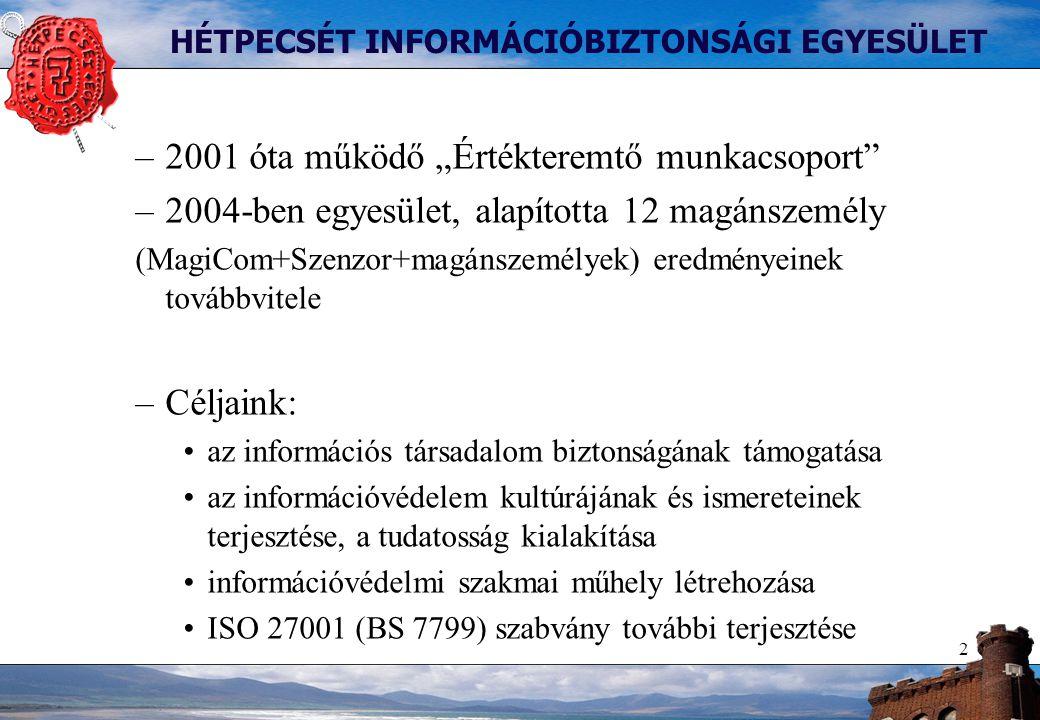 """2 HÉTPECSÉT INFORMÁCIÓBIZTONSÁGI EGYESÜLET –2001 óta működő """"Értékteremtő munkacsoport –2004-ben egyesület, alapította 12 magánszemély (MagiCom+Szenzor+magánszemélyek) eredményeinek továbbvitele –Céljaink: az információs társadalom biztonságának támogatása az információvédelem kultúrájának és ismereteinek terjesztése, a tudatosság kialakítása információvédelmi szakmai műhely létrehozása ISO 27001 (BS 7799) szabvány további terjesztése"""