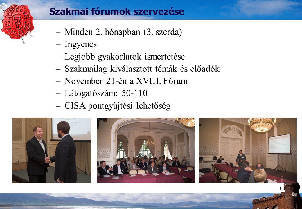 3 Szakmai fórumok szervezése –Minden 2. hónapban (3. szerda) –Ingyenes –Legjobb gyakorlatok ismertetése –Szakmailag kiválasztott témák és előadók –Nov