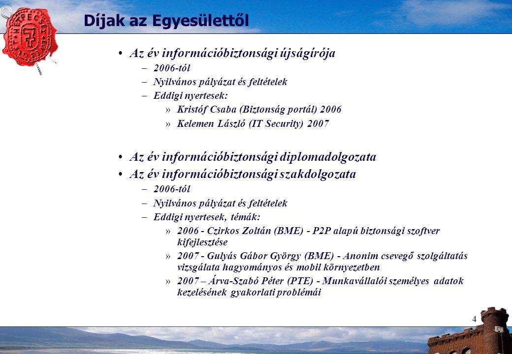 4 Díjak az Egyesülettől Az év információbiztonsági újságírója –2006-tól –Nyilvános pályázat és feltételek –Eddigi nyertesek: »Kristóf Csaba (Biztonság