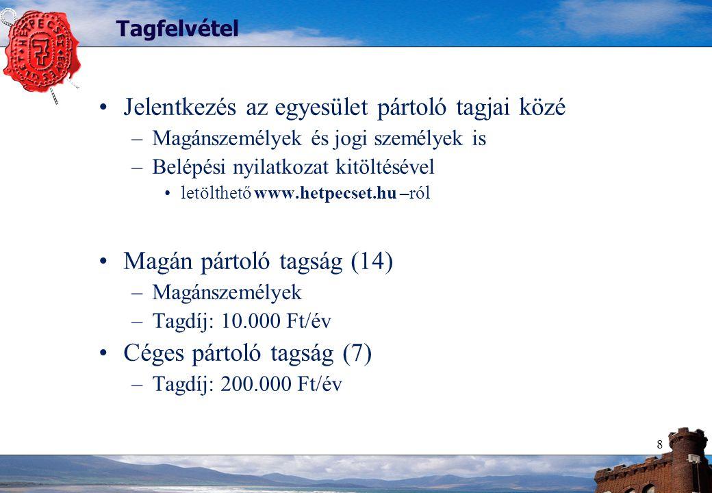 8 Tagfelvétel Jelentkezés az egyesület pártoló tagjai közé –Magánszemélyek és jogi személyek is –Belépési nyilatkozat kitöltésével letölthető www.hetpecset.hu –ról Magán pártoló tagság (14) –Magánszemélyek –Tagdíj: 10.000 Ft/év Céges pártoló tagság (7) –Tagdíj: 200.000 Ft/év