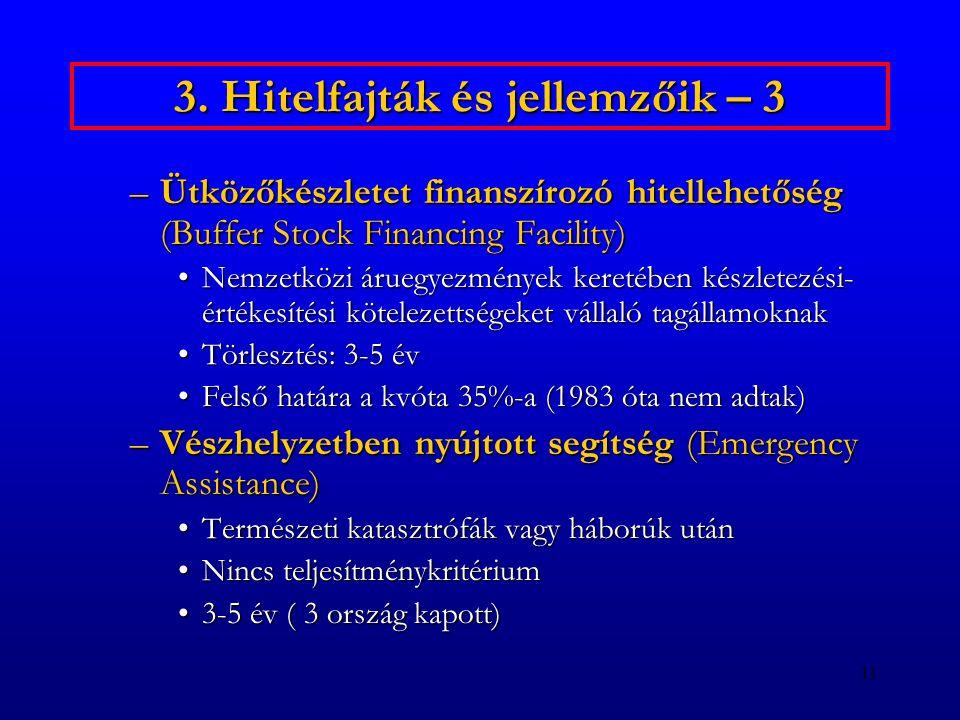 11 3. Hitelfajták és jellemzőik – 3 –Ütközőkészletet finanszírozó hitellehetőség (Buffer Stock Financing Facility) Nemzetközi áruegyezmények keretében