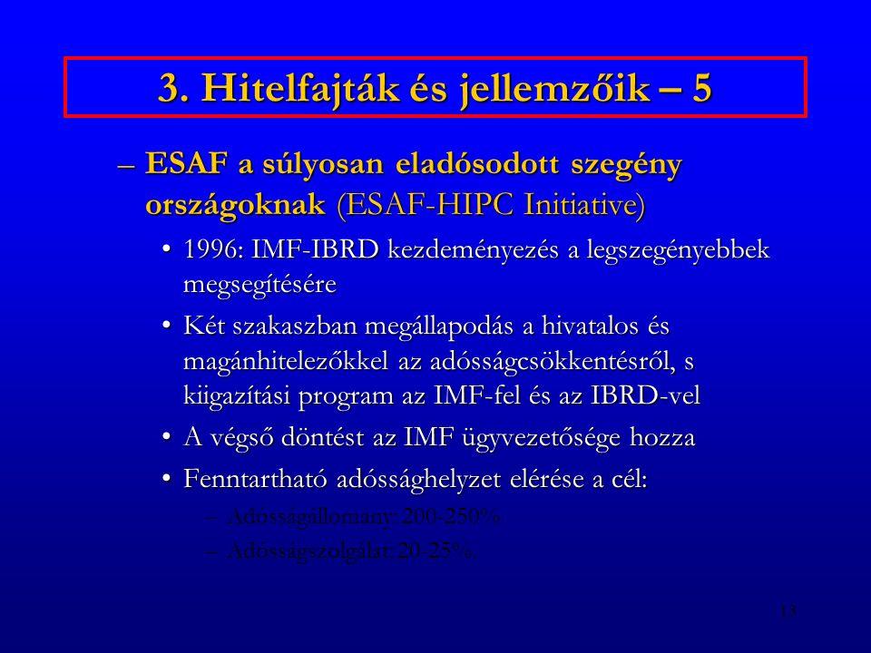 13 3. Hitelfajták és jellemzőik – 5 –ESAF a súlyosan eladósodott szegény országoknak (ESAF-HIPC Initiative) 1996: IMF-IBRD kezdeményezés a legszegénye