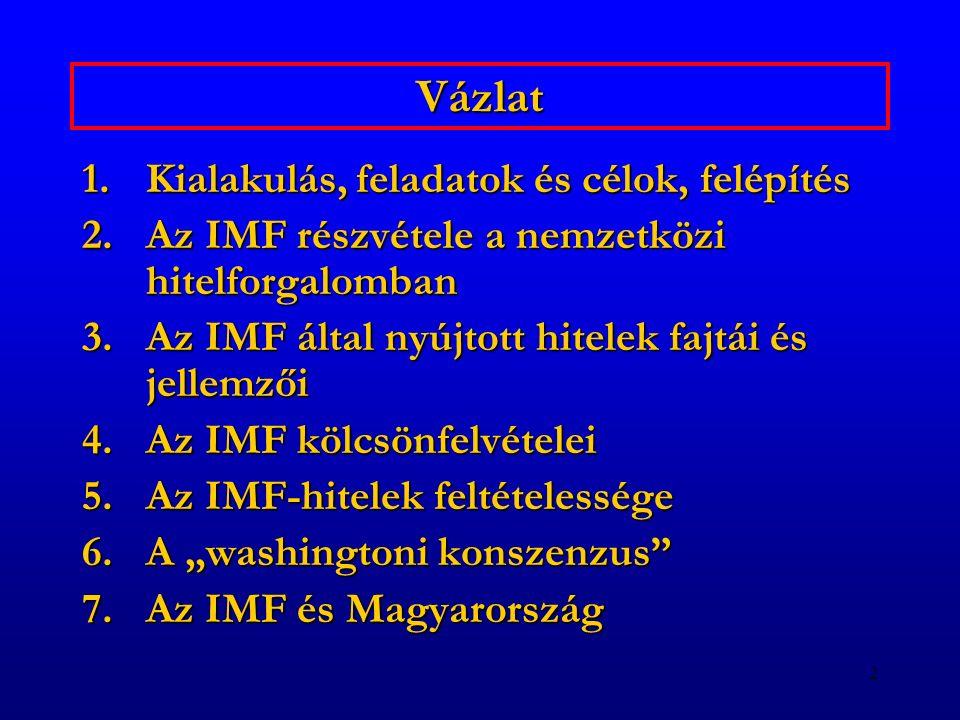 2 Vázlat 1.Kialakulás, feladatok és célok, felépítés 2.Az IMF részvétele a nemzetközi hitelforgalomban 3.Az IMF által nyújtott hitelek fajtái és jelle