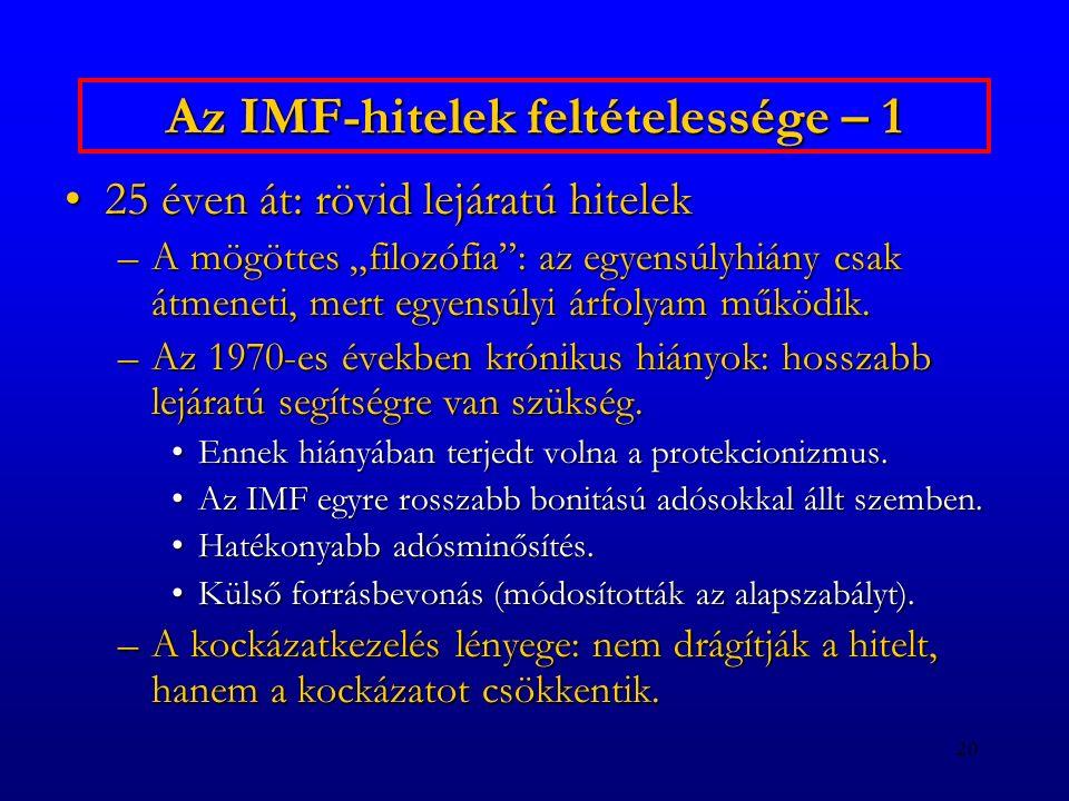 """20 Az IMF-hitelek feltételessége – 1 25 éven át: rövid lejáratú hitelek25 éven át: rövid lejáratú hitelek –A mögöttes """"filozófia"""": az egyensúlyhiány c"""