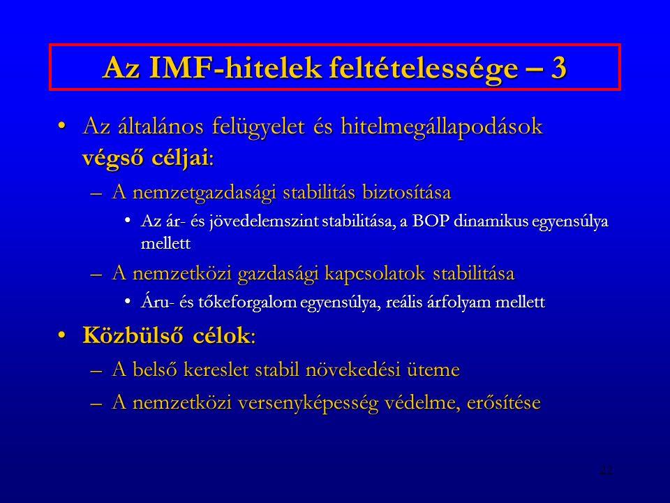 22 Az IMF-hitelek feltételessége – 3 Az általános felügyelet és hitelmegállapodások végső céljai:Az általános felügyelet és hitelmegállapodások végső