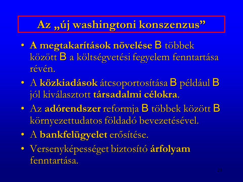 """28 Az """"új washingtoni konszenzus"""" A megtakarítások növelése B többek között B a költségvetési fegyelem fenntartása révén.A megtakarítások növelése B t"""