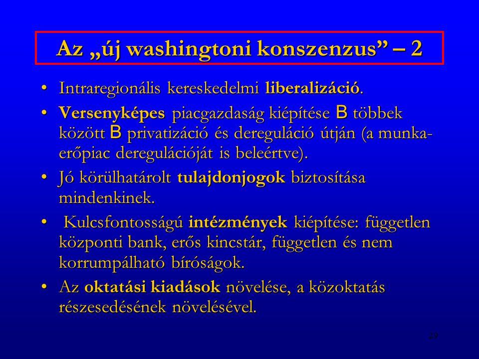 """29 Az """"új washingtoni konszenzus"""" – 2 Intraregionális kereskedelmi liberalizáció.Intraregionális kereskedelmi liberalizáció. Versenyképes piacgazdaság"""