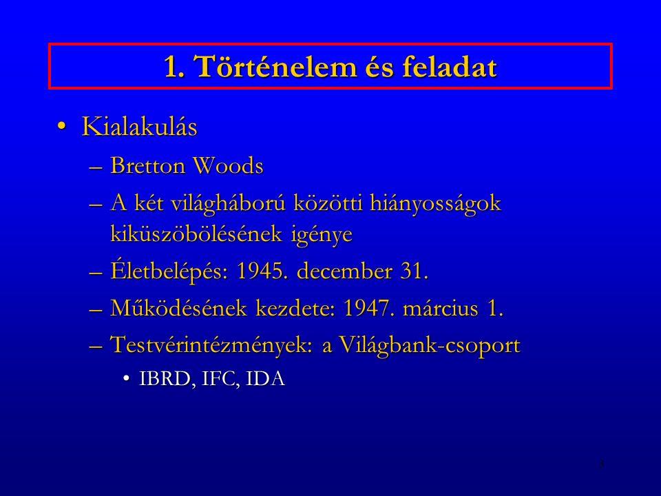 3 1. Történelem és feladat KialakulásKialakulás –Bretton Woods –A két világháború közötti hiányosságok kiküszöbölésének igénye –Életbelépés: 1945. dec