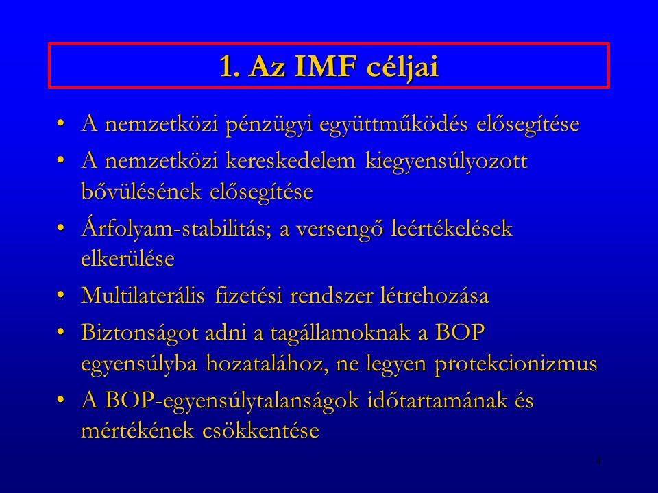4 1. Az IMF céljai A nemzetközi pénzügyi együttműködés elősegítéseA nemzetközi pénzügyi együttműködés elősegítése A nemzetközi kereskedelem kiegyensúl