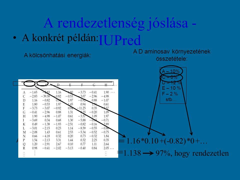 A rendezetlenség jóslása - IUPred A konkrét példán: A – 10% C – 0% D – 12 % E – 10 % F – 2 % stb… A D aminosav környezetének összetétele: A becsült kölcsönhatási energia: E = A kölcsönhatási energiák: 1.16*0.10+(-0.82)*0+… = 1.138 97%, hogy rendezetlen