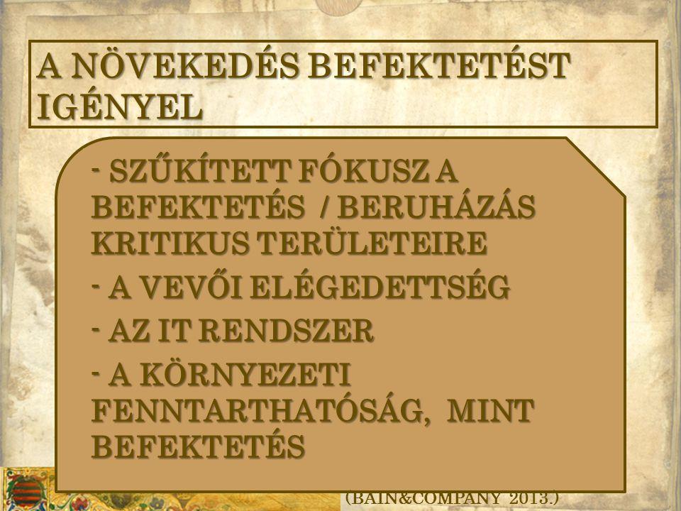 - SZŰKÍTETT FÓKUSZ A BEFEKTETÉS / BERUHÁZÁS KRITIKUS TERÜLETEIRE - A VEVŐI ELÉGEDETTSÉG - AZ IT RENDSZER - A KÖRNYEZETI FENNTARTHATÓSÁG, MINT BEFEKTETÉS A NÖVEKEDÉS BEFEKTETÉST IGÉNYEL (BAIN&COMPANY 2013.)