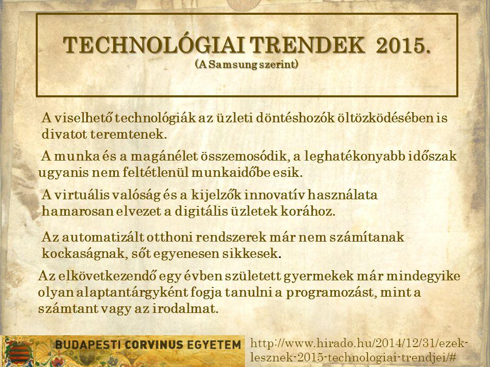 TECHNOLÓGIAI TRENDEK 2015.