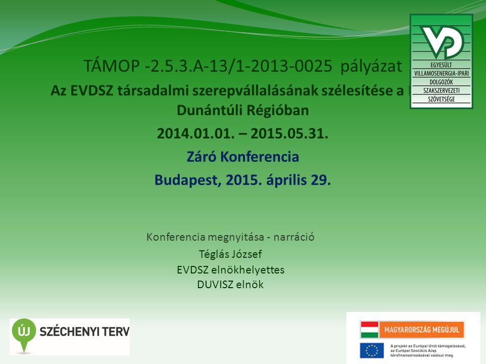 1 TÁMOP -2.5.3.A-13/1-2013-0025 pályázat Az EVDSZ társadalmi szerepvállalásának szélesítése a Dél- Dunántúli Régióban 2014.01.01.