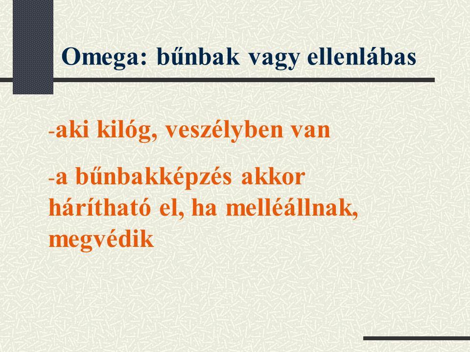 Omega: bűnbak vagy ellenlábas - aki kilóg, veszélyben van - a bűnbakképzés akkor hárítható el, ha melléállnak, megvédik