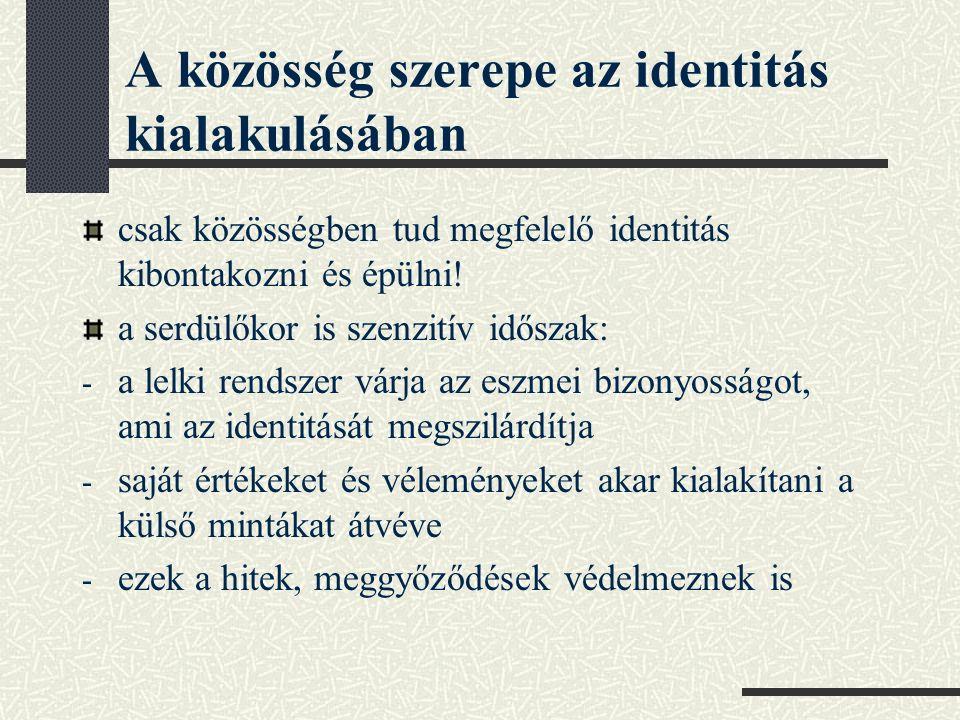 A közösség szerepe az identitás kialakulásában csak közösségben tud megfelelő identitás kibontakozni és épülni! a serdülőkor is szenzitív időszak: - a