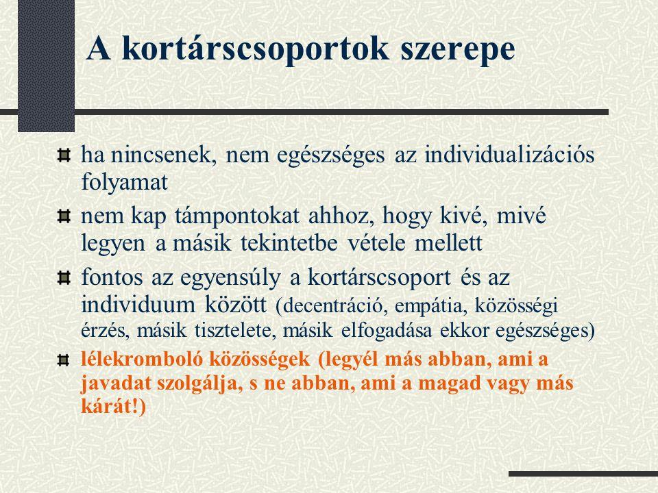 A kortárscsoportok szerepe ha nincsenek, nem egészséges az individualizációs folyamat nem kap támpontokat ahhoz, hogy kivé, mivé legyen a másik tekintetbe vétele mellett fontos az egyensúly a kortárscsoport és az individuum között (decentráció, empátia, közösségi érzés, másik tisztelete, másik elfogadása ekkor egészséges) lélekromboló közösségek (legyél más abban, ami a javadat szolgálja, s ne abban, ami a magad vagy más kárát!)