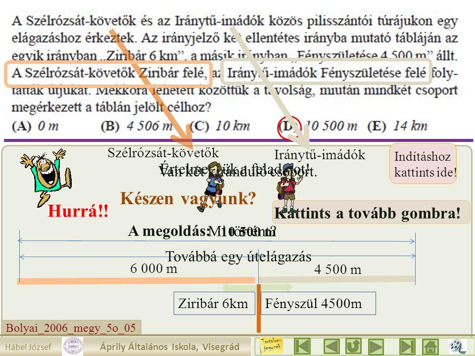Bolyai_2006_megy_5o_05 6 000 m Megoldás: a távolság nem lehet nagyobb 10 500 m- nél.