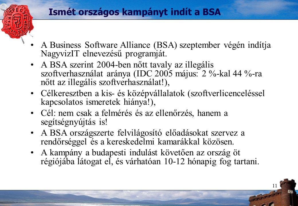 11 Ismét országos kampányt indít a BSA A Business Software Alliance (BSA) szeptember végén indítja NagyvizIT elnevezésű programját.