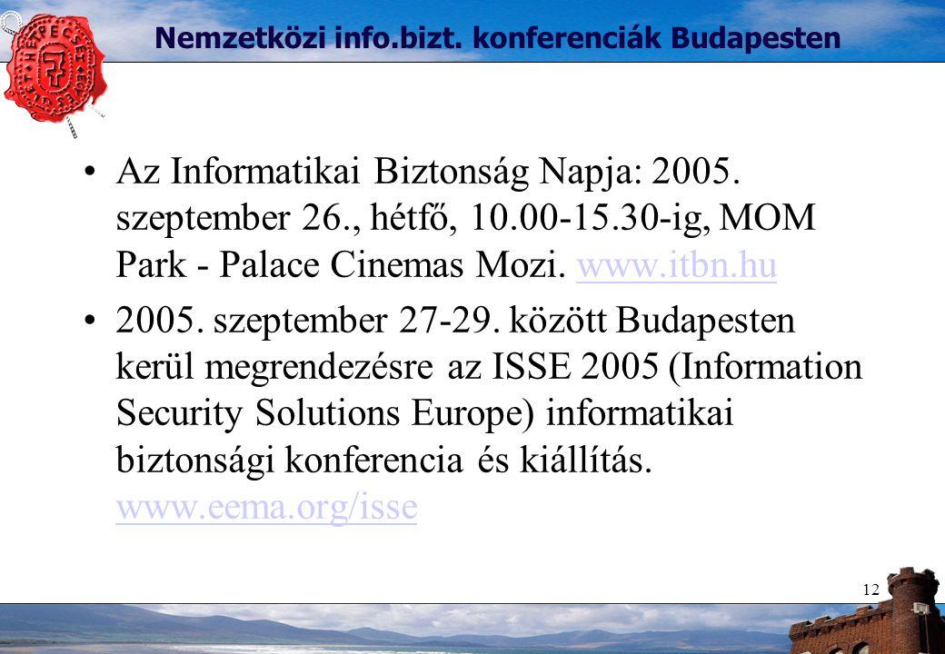 12 Nemzetközi info.bizt. konferenciák Budapesten Az Informatikai Biztonság Napja: 2005.