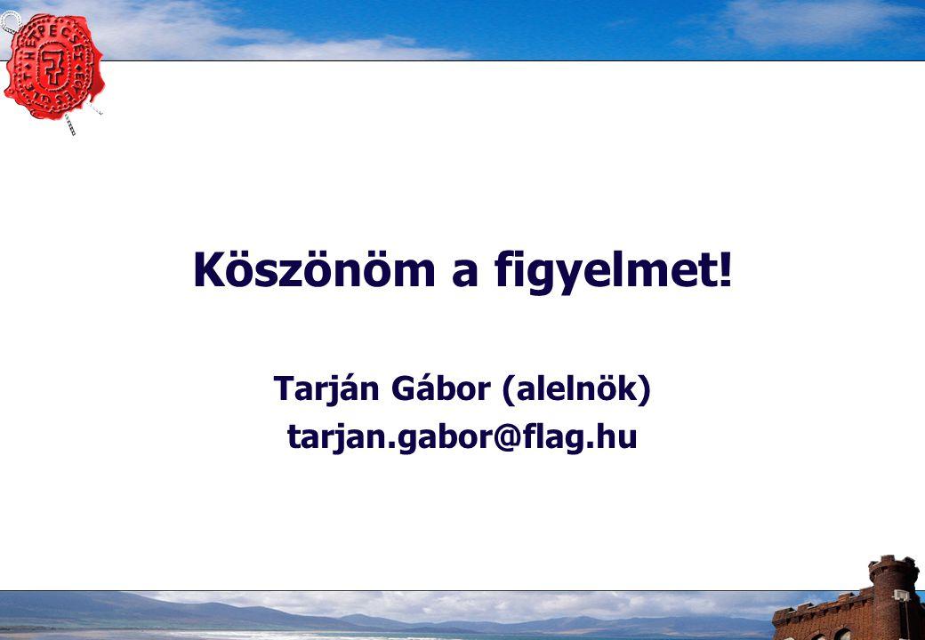 Köszönöm a figyelmet! Tarján Gábor (alelnök) tarjan.gabor@flag.hu