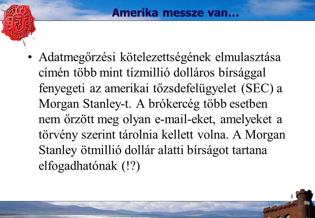 8 Amerika messze van… Adatmegőrzési kötelezettségének elmulasztása címén több mint tízmillió dolláros bírsággal fenyegeti az amerikai tőzsdefelügyelet (SEC) a Morgan Stanley-t.