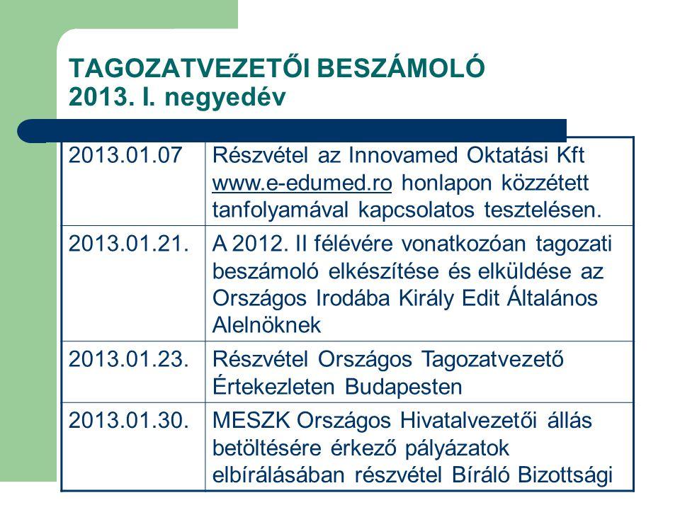 TAGOZATVEZETŐI BESZÁMOLÓ 2013.I.