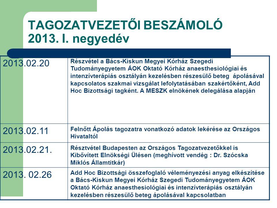 TAGOZATVEZETŐI BESZÁMOLÓ 2013.II.
