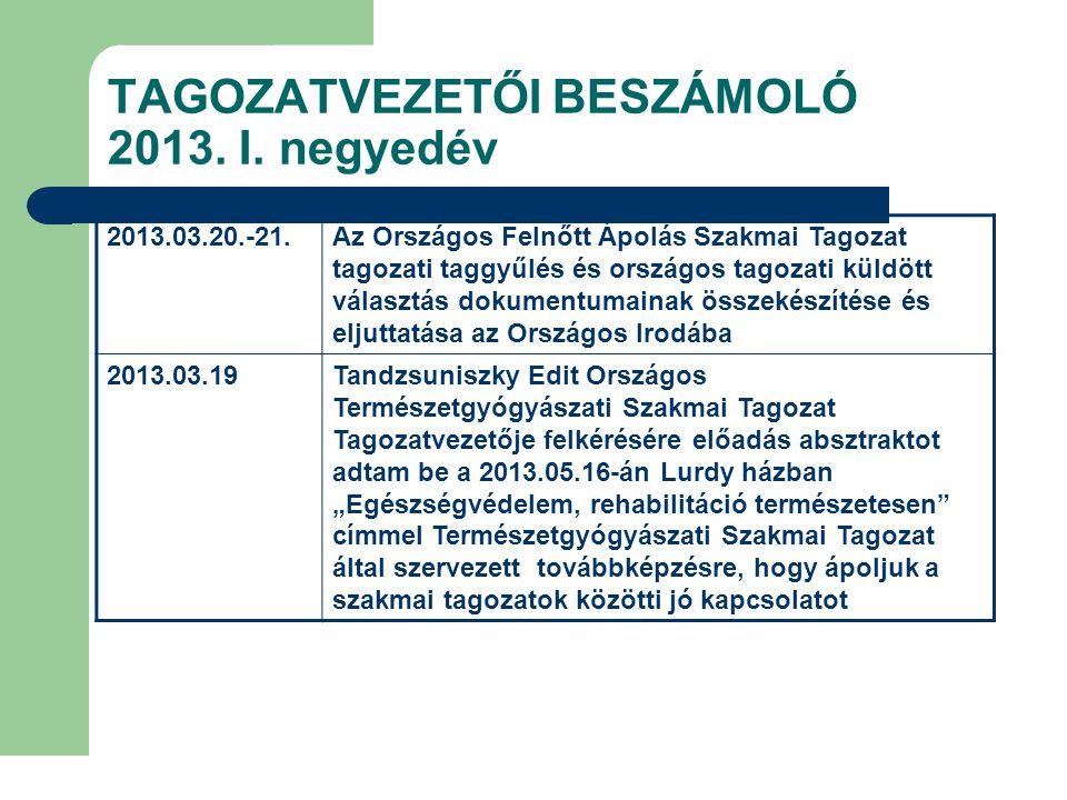 TAGOZATVEZETŐI BESZÁMOLÓ 2013.III. negyedév 2013.09.04.Ápolás Innováció II.