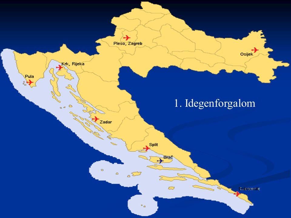  1980-as években a horvát tengerpart adta az idegenforgalom bevételének 80 %-át Jugoszláviában  Háború --- a turisták számára már nem olyan vonzó  Háború után új erőre kap a turizmus  Idegenforgalmi területei: Isztria, Dalmácia (Dubrovnik, Šibenik, Split, Zadar) Szlavónia, Drávaszög, Zágráb  bevétel 2007-ben: 7 milliárd kuna (GDP 20 %-a)  Jövőbeni célok: - szálláshelyek felújítása, hogy versenyben maradjanak Görögországgal és Olaszországgal - további színvonalas kempingek kiépítése (13,2 millió vendégéjszaka, 2007)  Főbb problémák: - új kempingek építésénél jogi- és tulajdonosi viták hátráltatják a fejlődést - méregdrága benzin (a turisták 90 %-a autóval érkezik)