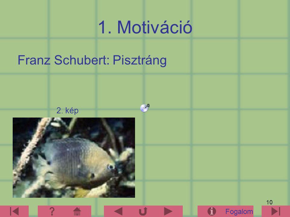10 1. Motiváció Franz Schubert: Pisztráng Fogalom 2. kép