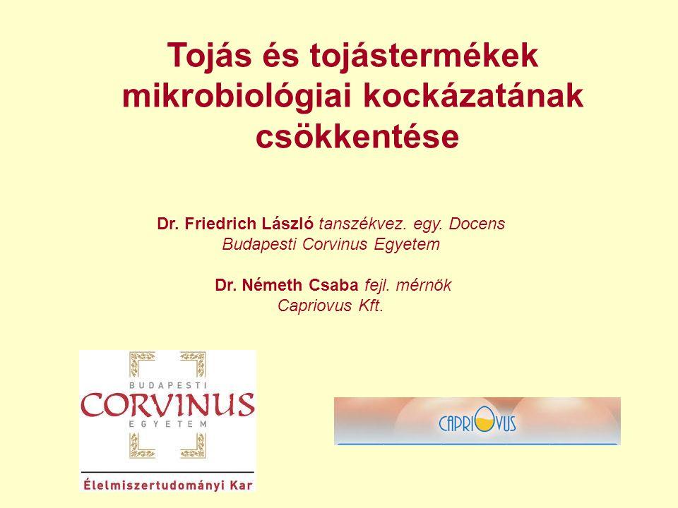 Tojás és tojástermékek mikrobiológiai kockázatának csökkentése Dr. Friedrich László tanszékvez. egy. Docens Budapesti Corvinus Egyetem Dr. Németh Csab