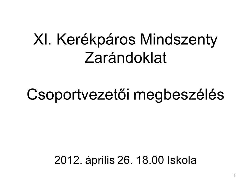 1 XI. Kerékpáros Mindszenty Zarándoklat Csoportvezetői megbeszélés 2012. április 26. 18.00 Iskola